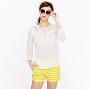 J. Crew Embroidered Guaze Top